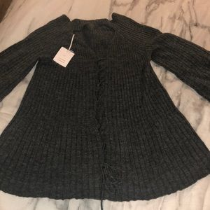 LC Lauren Conrad lace up swimg pull over sweater